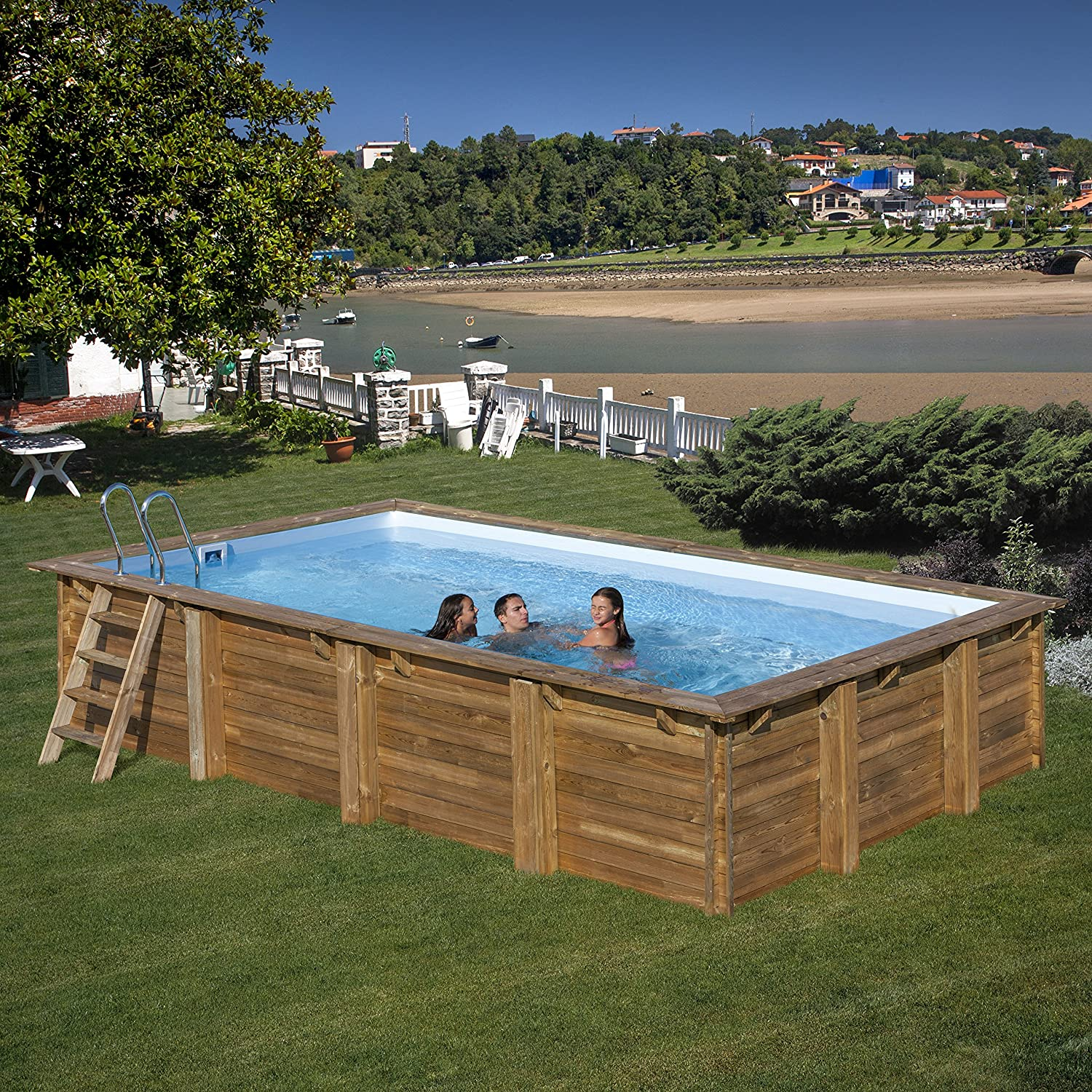 Piscina de madera GRE rectangular Evora Wooden Pool GRE 790094 ...