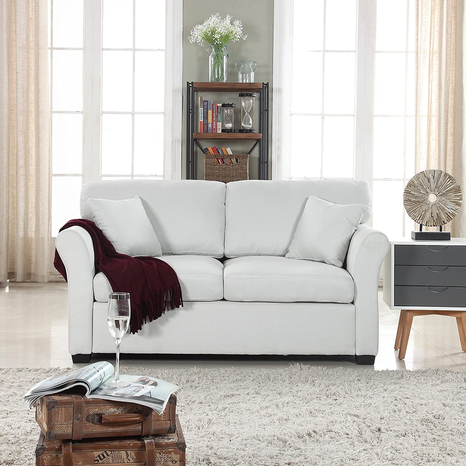 Classic Traditional Ultra Comfortable Linen Fabric Loveseat - Living Room Fabric Couch (Beige) Divano Roma Furniture EXP121-FB-2S