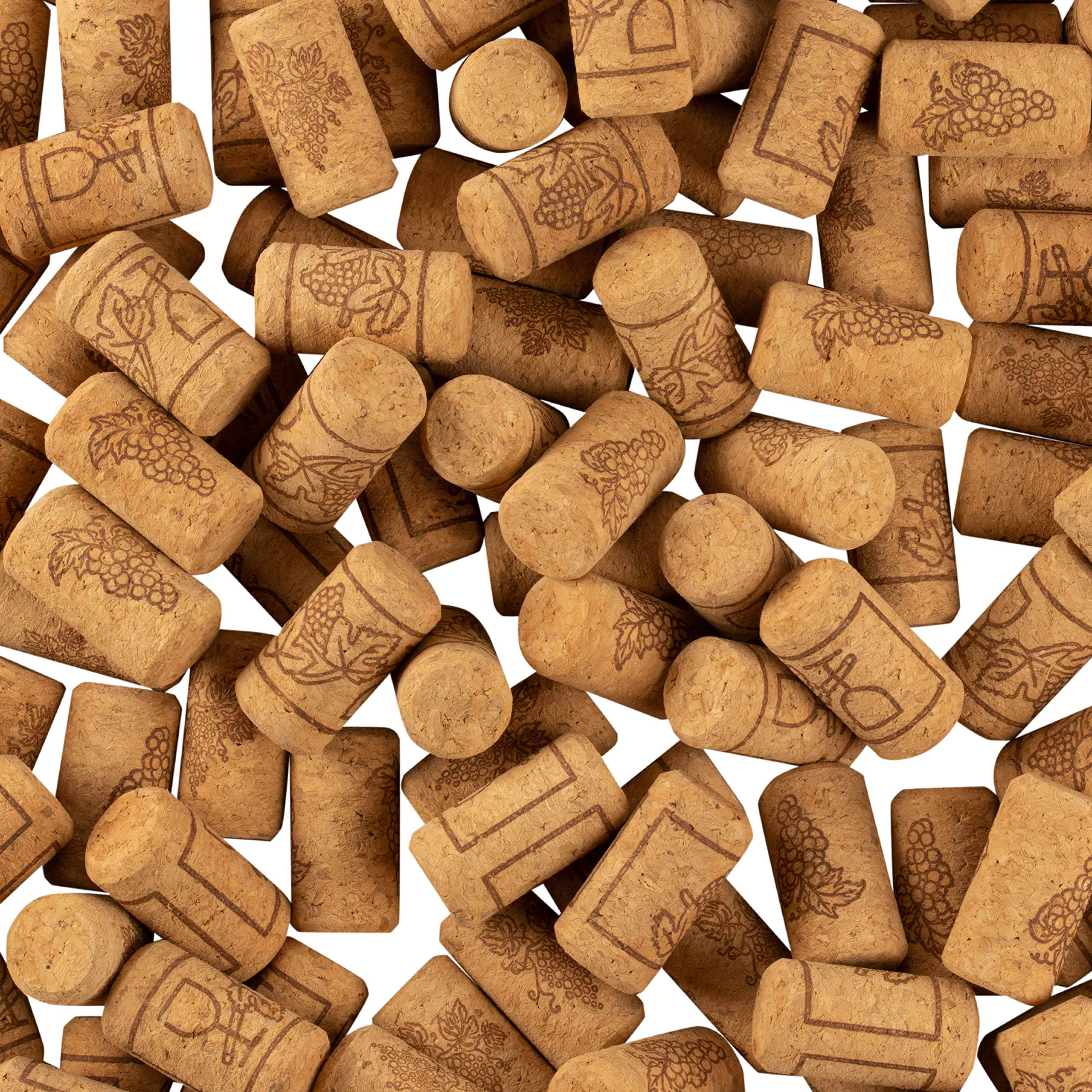 Set of 200 Wine Corks - Bottle Corks with Grape Vine Design, Non-Recycled Straight Corks, Natural Cork Stoppers, Brown - 0.93 x 1.7 Inches by Juvale (Image #5)