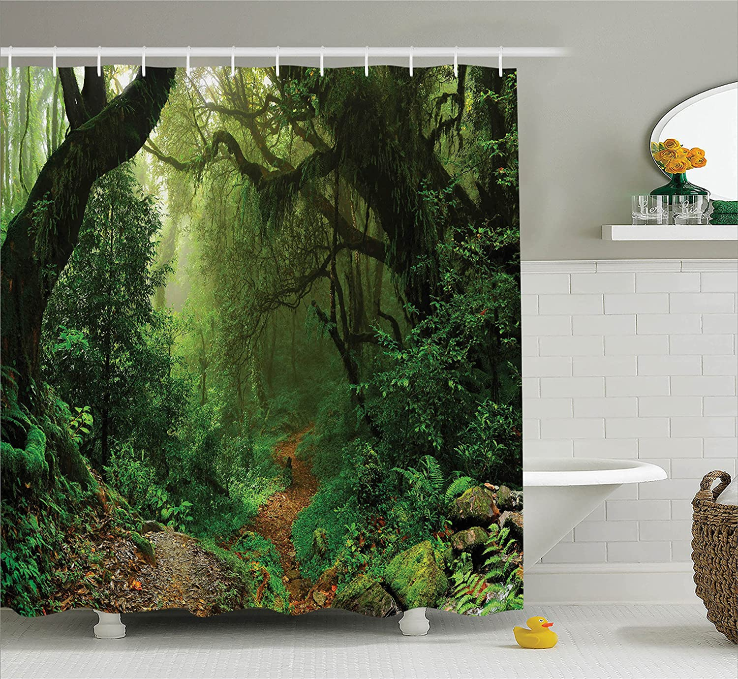 Amazoncom Ambesonne Rainforest Decorations Shower Curtain Set, Forest In Nepal
