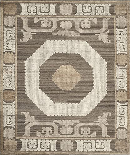 Safavieh Kenya Collection KNY313A Handmade Ivory and Brown Premium Wool Area Rug 9 x 12