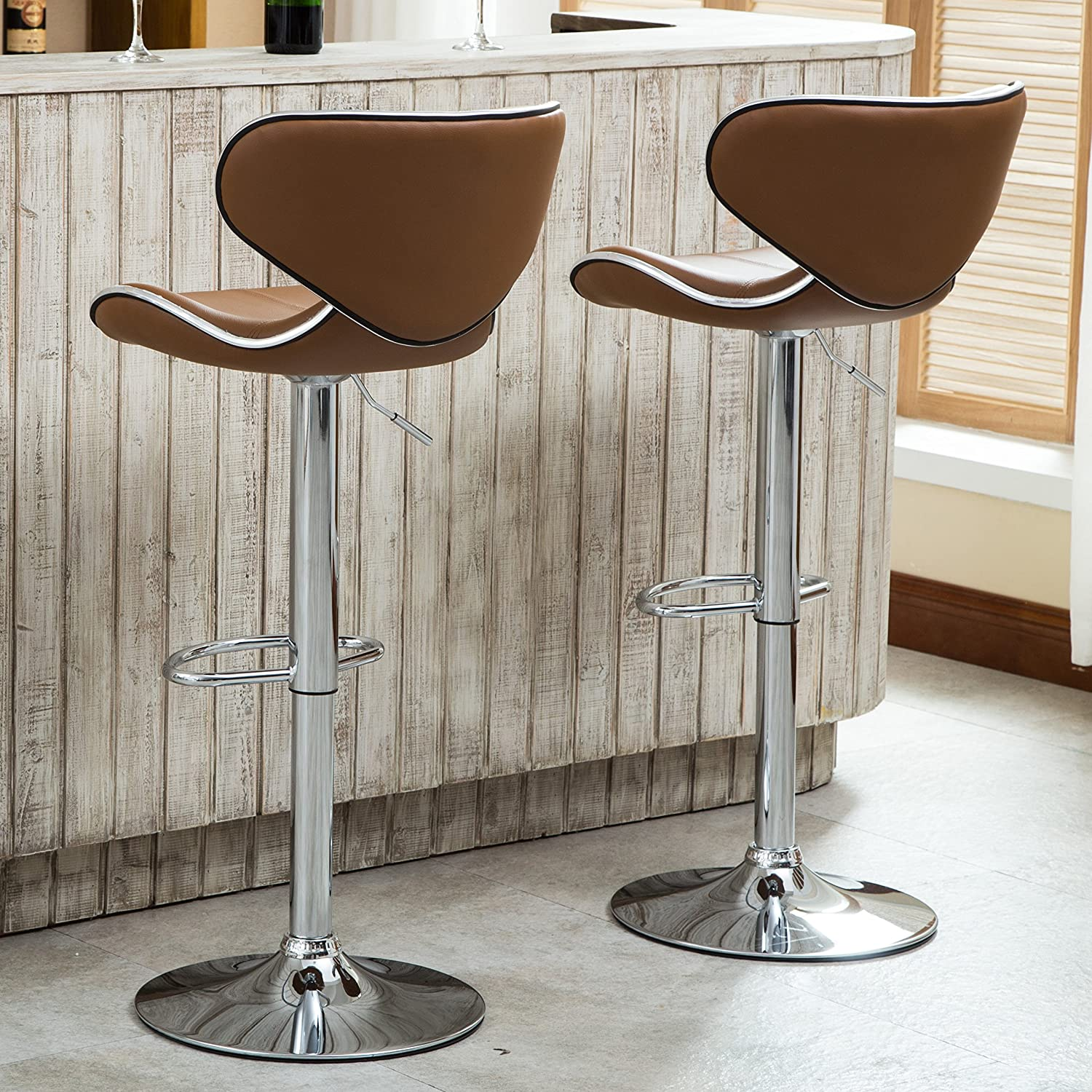 Roundhill Furniture PC138CL Masaccio Cushioned Leatherette Upholstery Airlift Adjustable Swivel Barstool with Chrome Base, Set of 2, Caramel