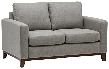 Rivet North End Exposed Wood Modern Loveseat, 59u0026quot; W, Grey Weave