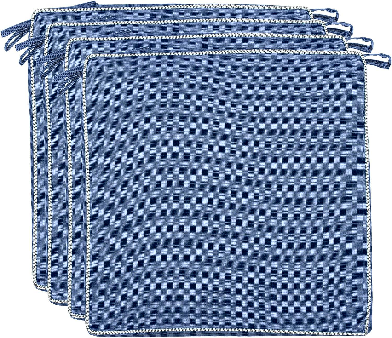 Brandsseller - Cojín para asiento exterior decorativo,repele la suciedad y el agua, relleno de 220 g, con un tamaño de 40 x 40 x 4 cm