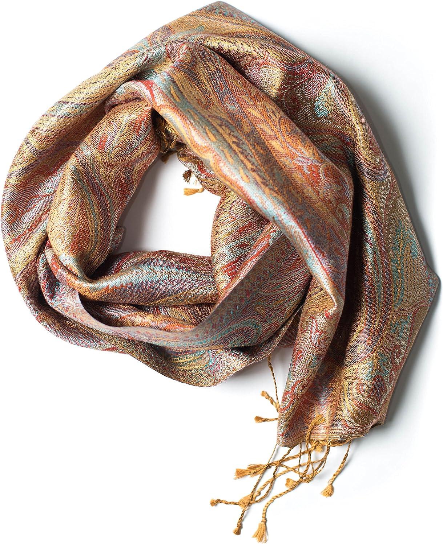 Pashmina bufanda de 100% seda de la India para hombres y mujeres, patrón cachemir/paisley, 160 x 35 cm - pañuelo de seda pura - muchos diseños diferentes