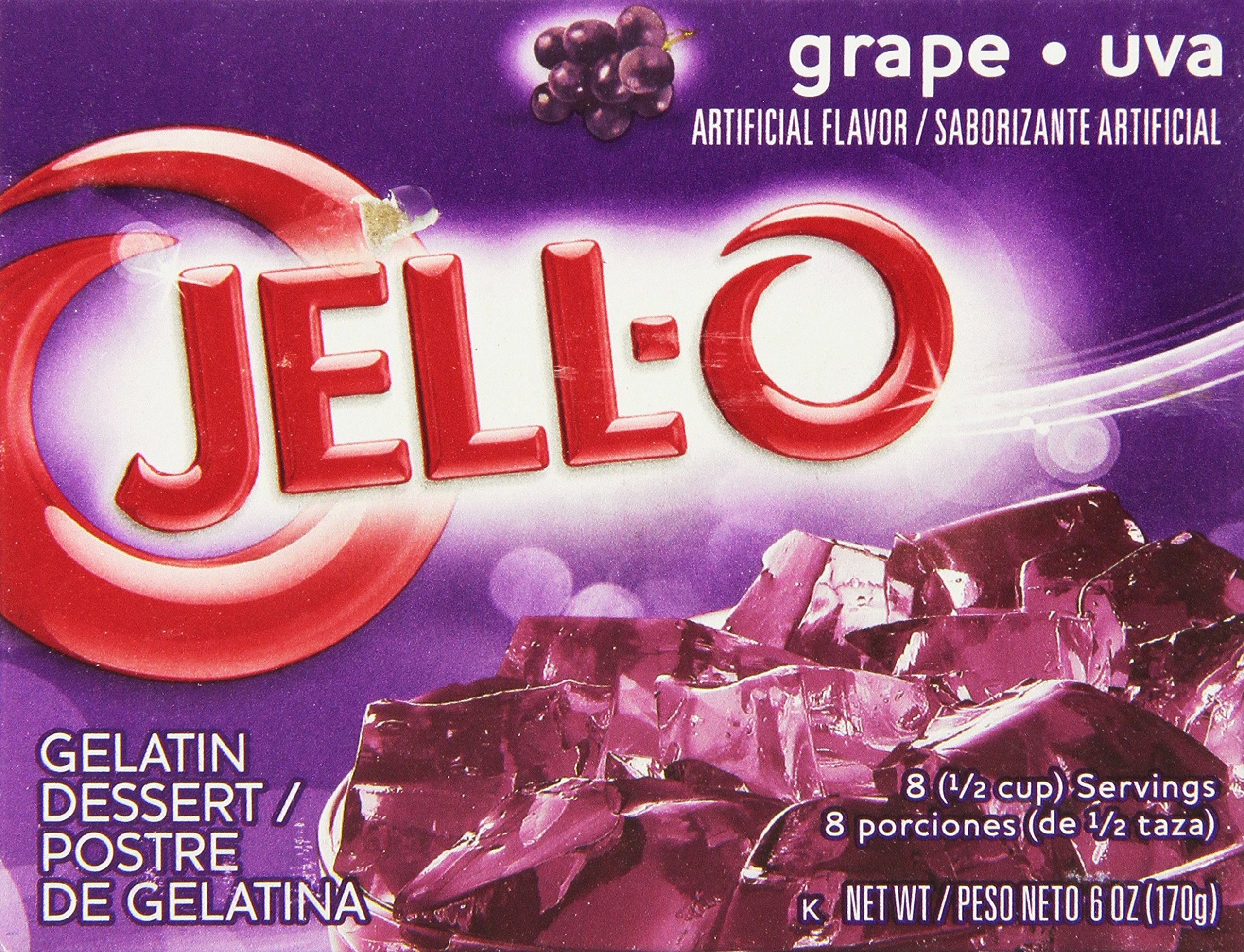Jell-O Grape Gelatin Mix 6 Ounce Box (Packaging may vary)