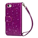 Glitter Wallet Case for iPhone 8 Plus,Strap