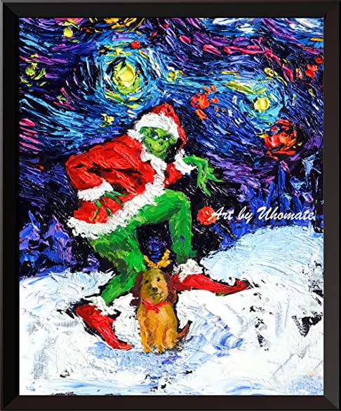 Uhomate The Grinch Christmas Ornaments Posters Vincent Van Gogh Starry Night Home Canvas Wall Art
