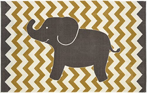 Mohawk Home Lucky Elephant Yellow Area Rug