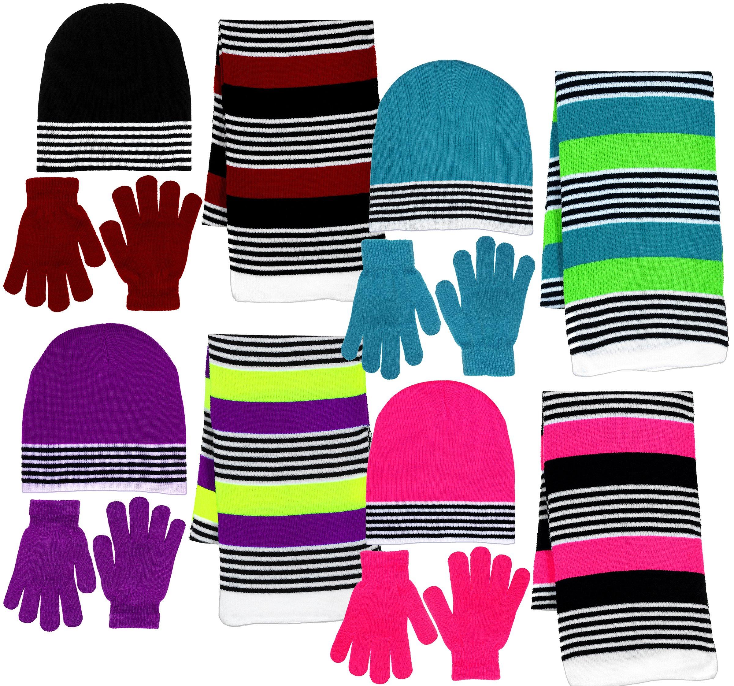 Girl's 3 Piece Knit Hat, Scarf & Gloves Set (Purple-Neon Yellow), OSFM