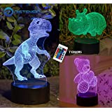 Distensio 3D Night Light Lamp Illusion - 3 Pattern Design (Teddy Bear, Hippopotamus, Dinosaur) Bedside Night Led Lamp with Acrylic Panel for Boys & Girls - 7 Color Changing with Remote Control