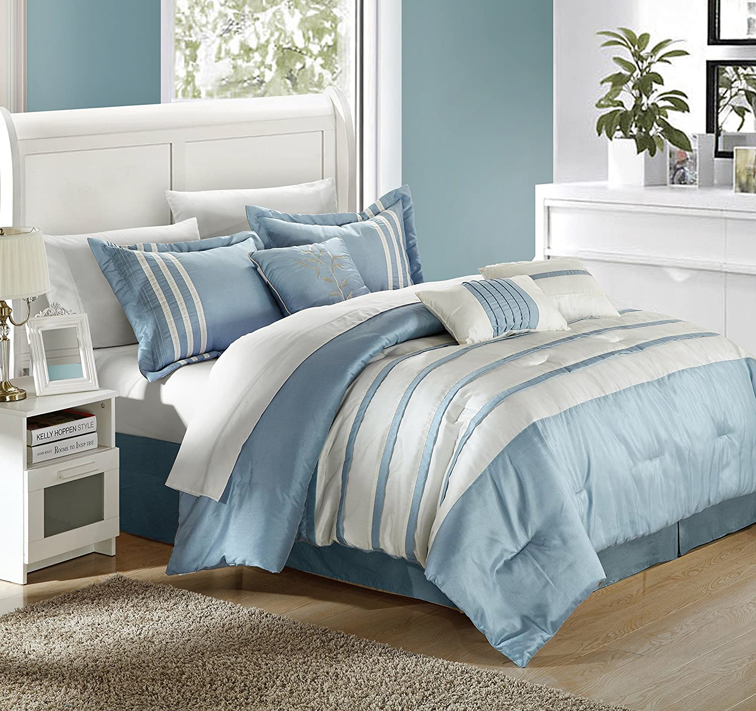 amazoncom chic home torino pleated piecing luxury bedding collection 7piece comforter set king blue home u0026 kitchen