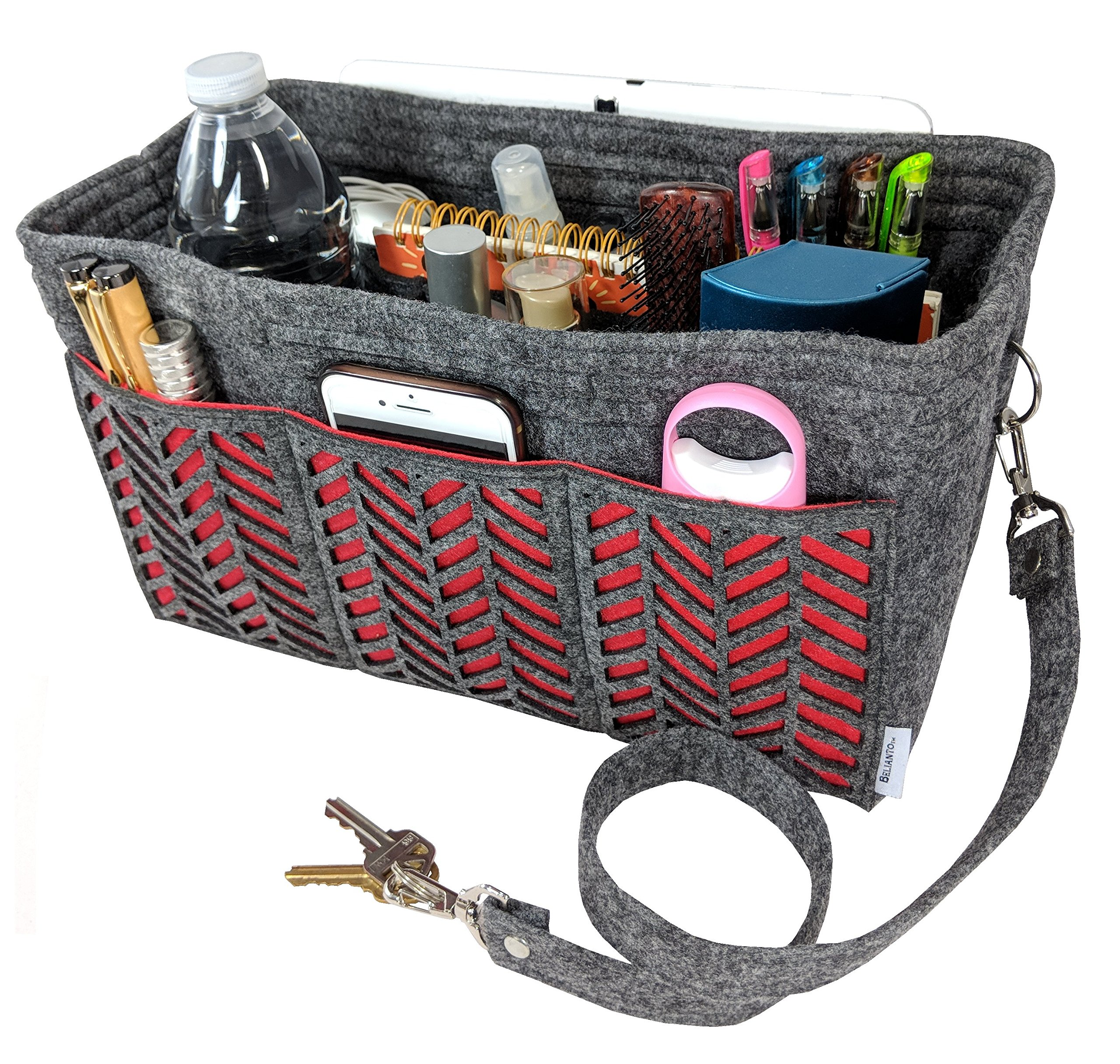 BELIANTO Felt Purse Organizer - Middle Insert, Bottle Holder for Tote Handbag Purse (Herringbone) (Large, Dark Grey)
