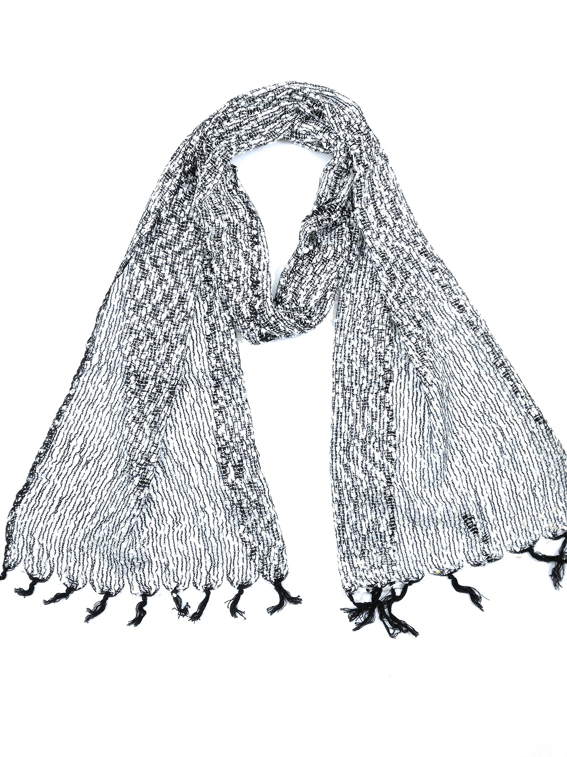 NEW - COOL TRADE WINDS - LIGHT AND DELICATE CONFETTI NET WEAVE SCARF: Hand Loomed in India, a pretty scarf that can be worn for any occasion - 193cm x 33cm in size (Black and White)