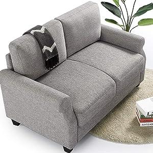 ZINUS Josh Loveseat Sofa / Easy, Tool-Free Assembly, Soft Grey