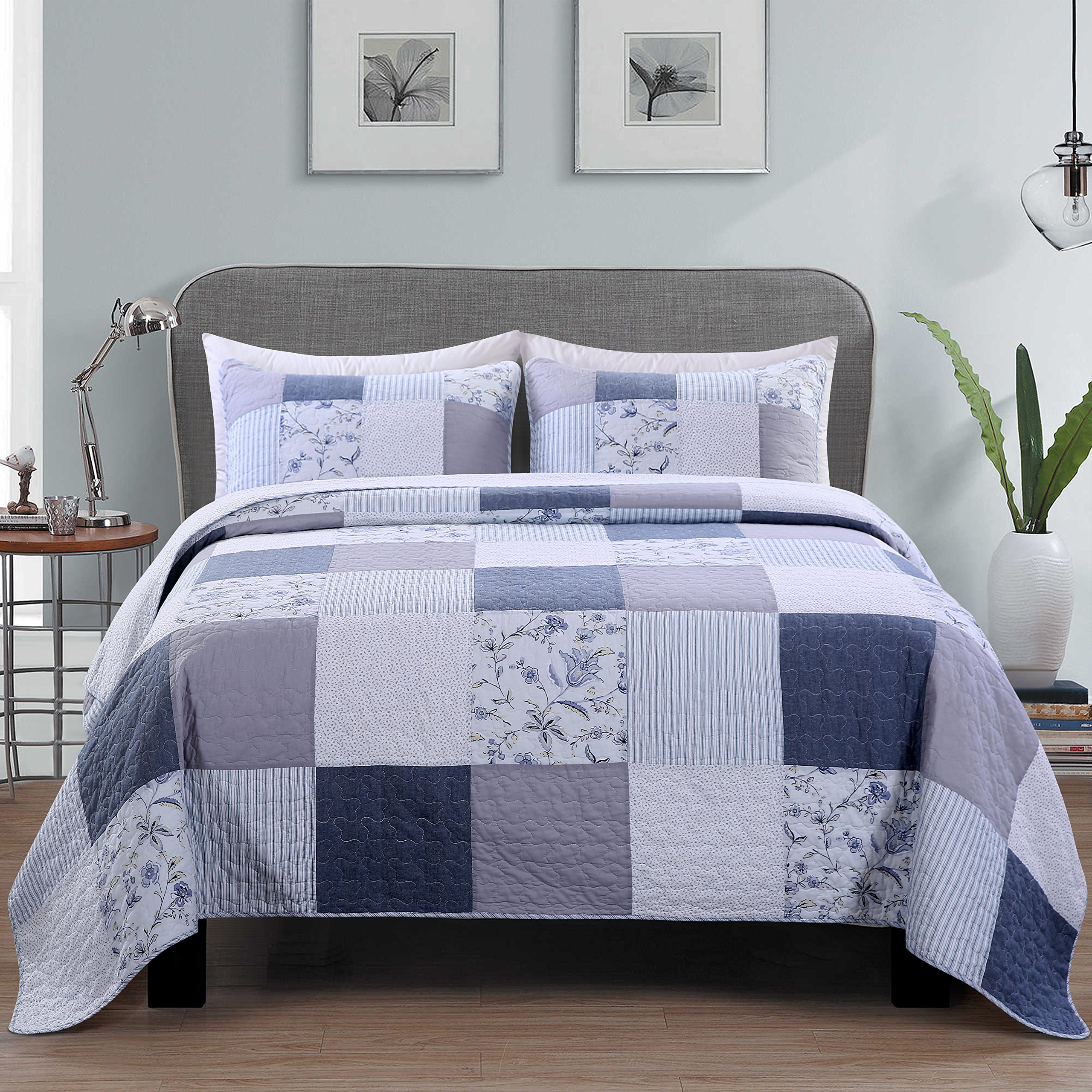 SLPR Coastal Dream 3-Piece Real Patchwork Cotton Quilt Set (King)   with 2 Shams Pre-Washed Reversible Machine Washable Lightweight Bedspread Coverlet