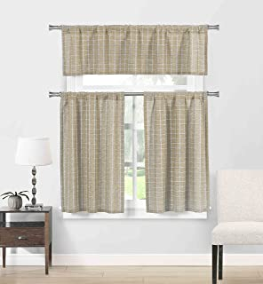 Ivory and Beige 3 Piece Kitchen Window Curtain Set Taupe