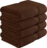 700 GSM Premium Bath Towels Set - Cotton Towels for Hotel and Spa, Maximum Softness and Absorbency by Utopia Towels (4 Pack) (Dark Brown)