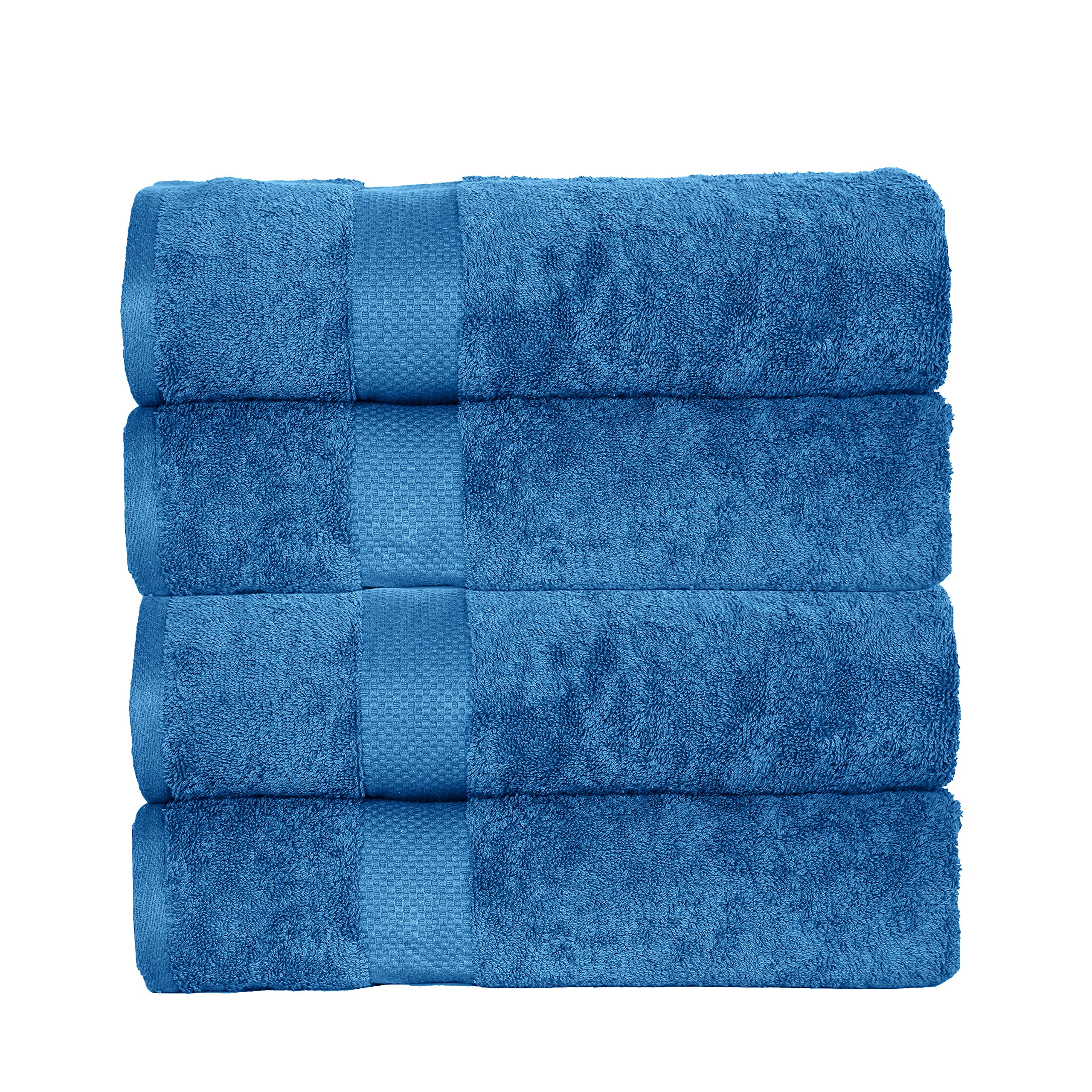 Casa Platino Elegance Spa ESP4 100% Combed Cotton Oversized 4 Piece Bath Sheets, Blue Stone