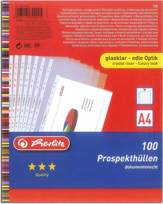 500 Prospekthüllen A4 Standard Glasklar Klarsichthüllen glatt Eurolochung PP