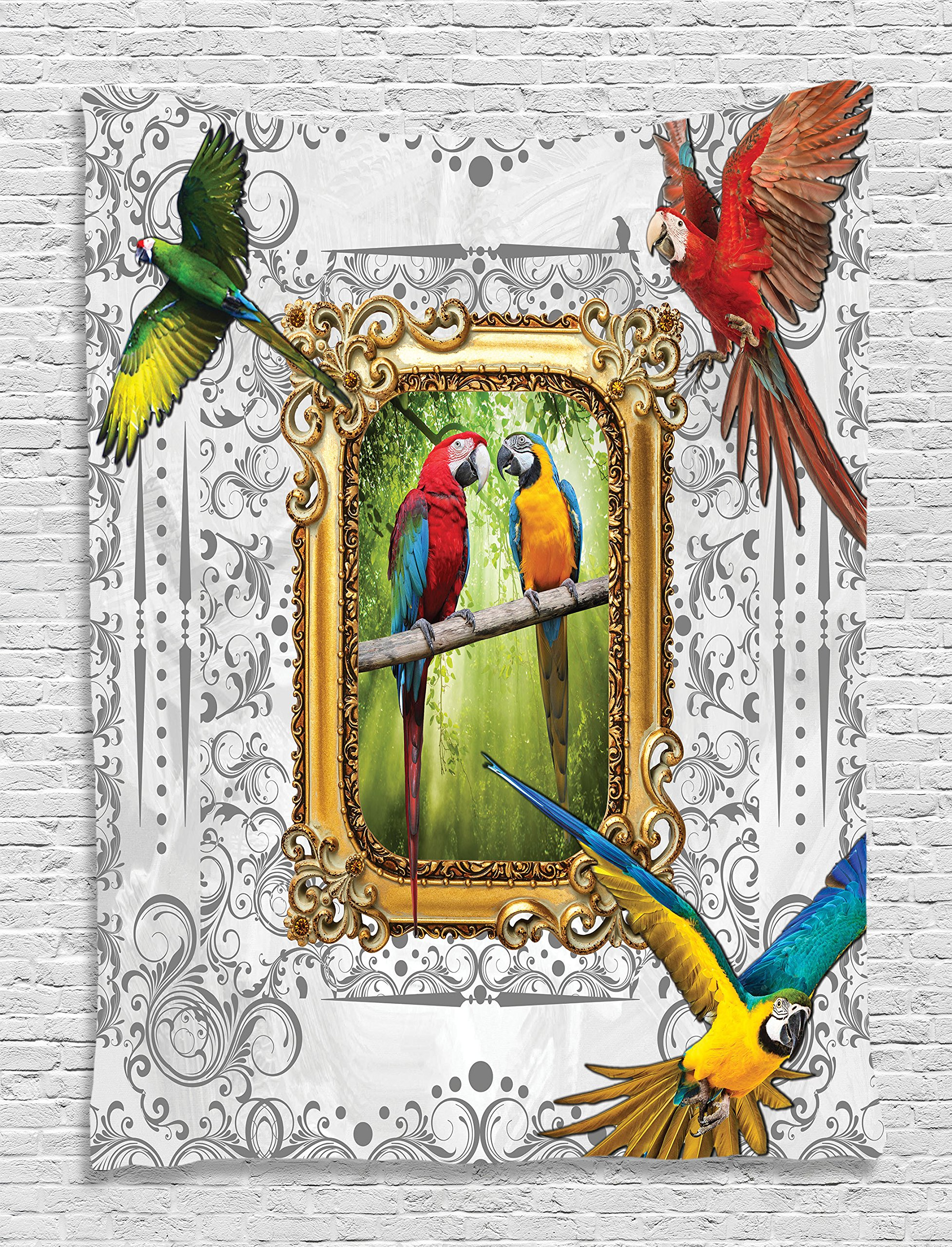 Magical Birds Dream Parrots Imaginary Art Ceremony Myth Wild Jungles Simurgs World of Animals Digital Printed Tapestry Wall Hanging Living Room Bedroom Decor, Red Green Turquoise Yellow White
