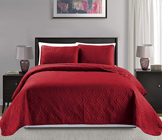 Fancy Linen 3pc Oversize Diamond Embossed Bedspread Solid Sage Green New
