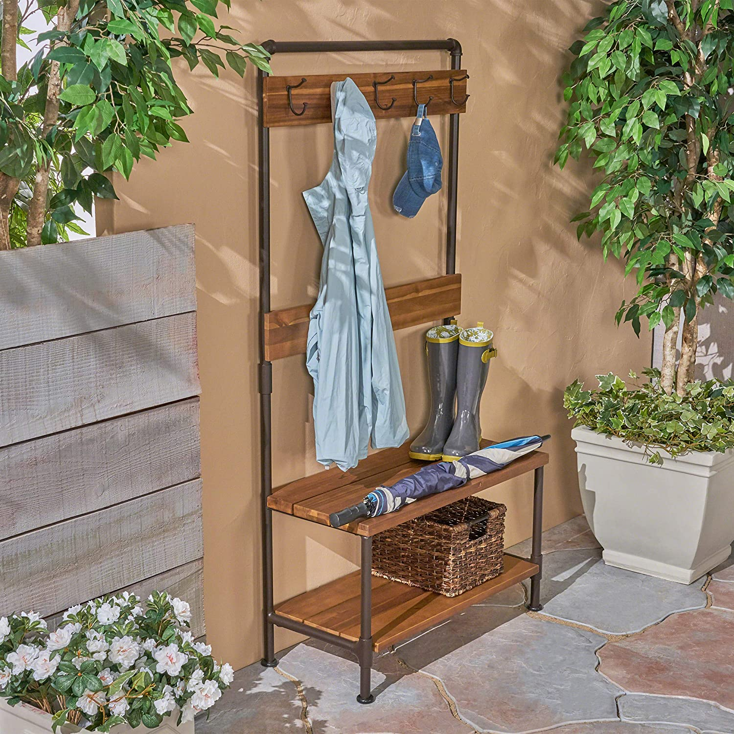 Great Deal Furniture Carlos Outdoor Industrial Acacia Wood Bench with Shelf and Coat Hooks, Teak Finish