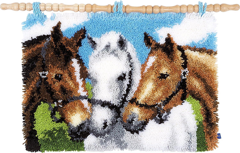 Vervaco–Alfombra de esmirna Caballos Nudos, algodón, Multicolor, 55x 38x 0,3cm