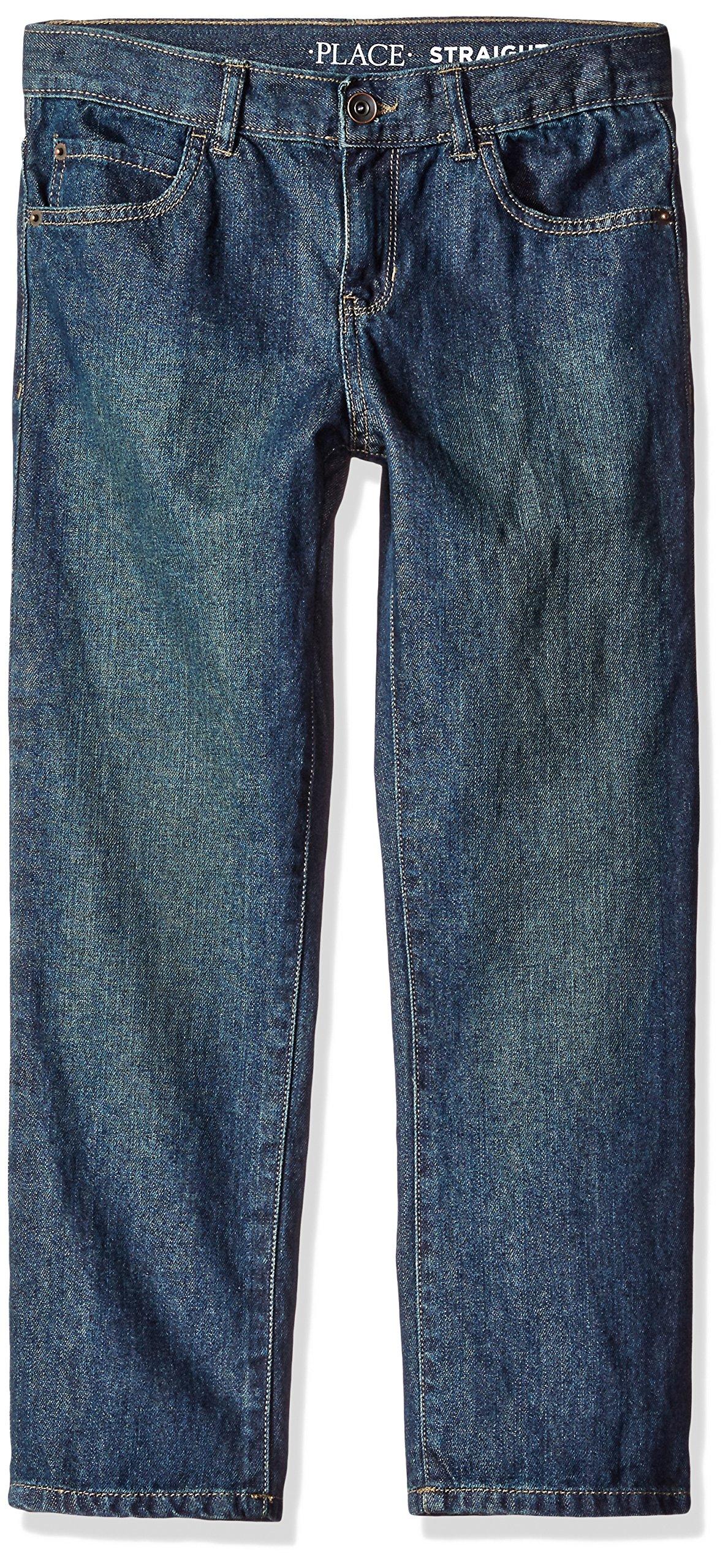The Children's Place Big Boys' Straight Leg Jeans, Dry Indigo, 7 Slim