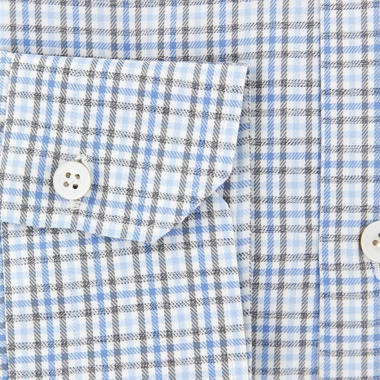 Kiton Plaid Button Down Cutaway Collar Cotton Slim Fit Dress Shirt