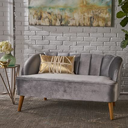 Christopher Knight Home 303506 Amaia Velvet Sofa Pewter/Walnut