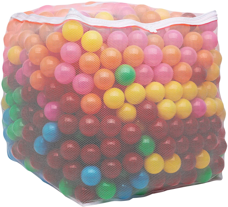 "Amazon Basics BPA Free Plastic Ball Pit Balls with Storage Bag, 1,000 ct (2.3"" Diameter), Bright Colors"