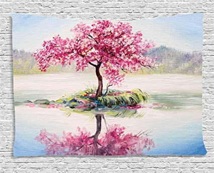 739034838d2 Amazon.com  Ambesonne Tree Tapestry Pink Floral Decor