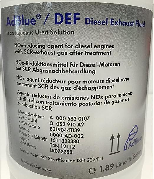 Original VW Audi AdBlue Solución de urea 1.89 lts: Amazon.es: Coche y moto