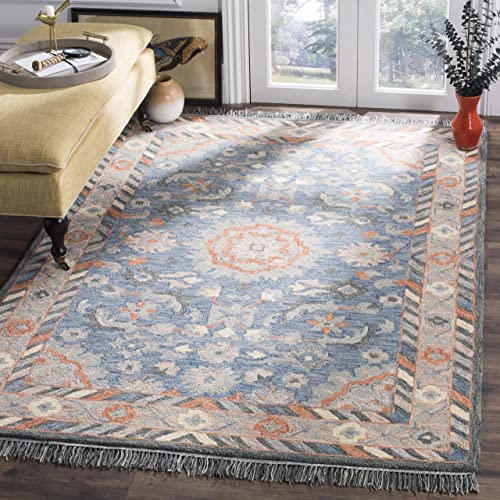 Safavieh Aspen Collection APN123A Blue and Rust Premium Wool Area Rug 4 x 6