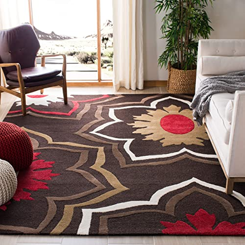 "Safavieh Soho Collection SOH857A Handmade Brown and Multi Premium Wool Area Rug 7'6"" x 9'6"""
