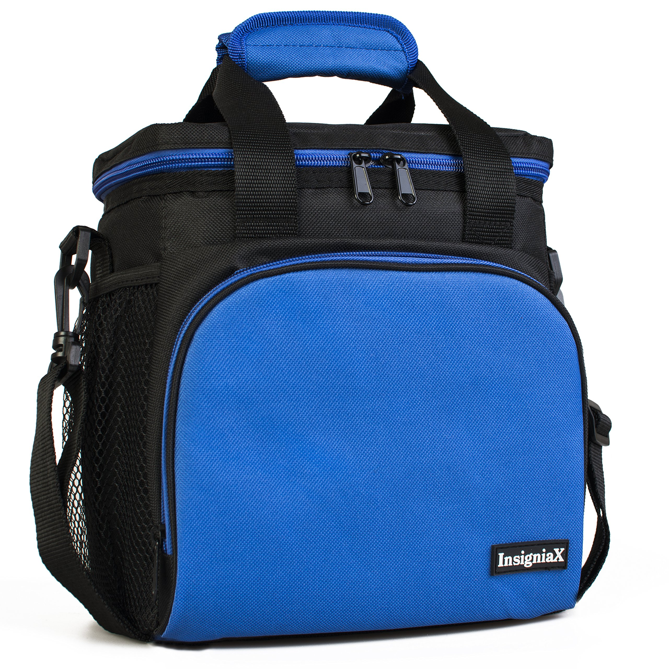 Insulated Lunch Bag S1: InsigniaX Cool Back to School Lunch Box/Cooler/Lunchbox for Adult Women Men Work School Kids Girls Boys With Strap Bottle Holder H: 10'' x W: 5.1'' x L: 9.2'' (Standard, Blue)