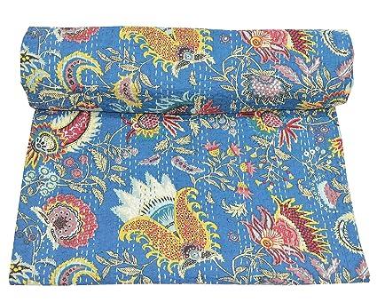 Amazon Com Multicolor Blue Mukut Print Queen Size Kantha Quilt