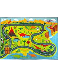 KC CUBS Playtime Collection Dinosaur Dino Safari Road Map Educational  Learning U0026 Game Area Rug Carpet