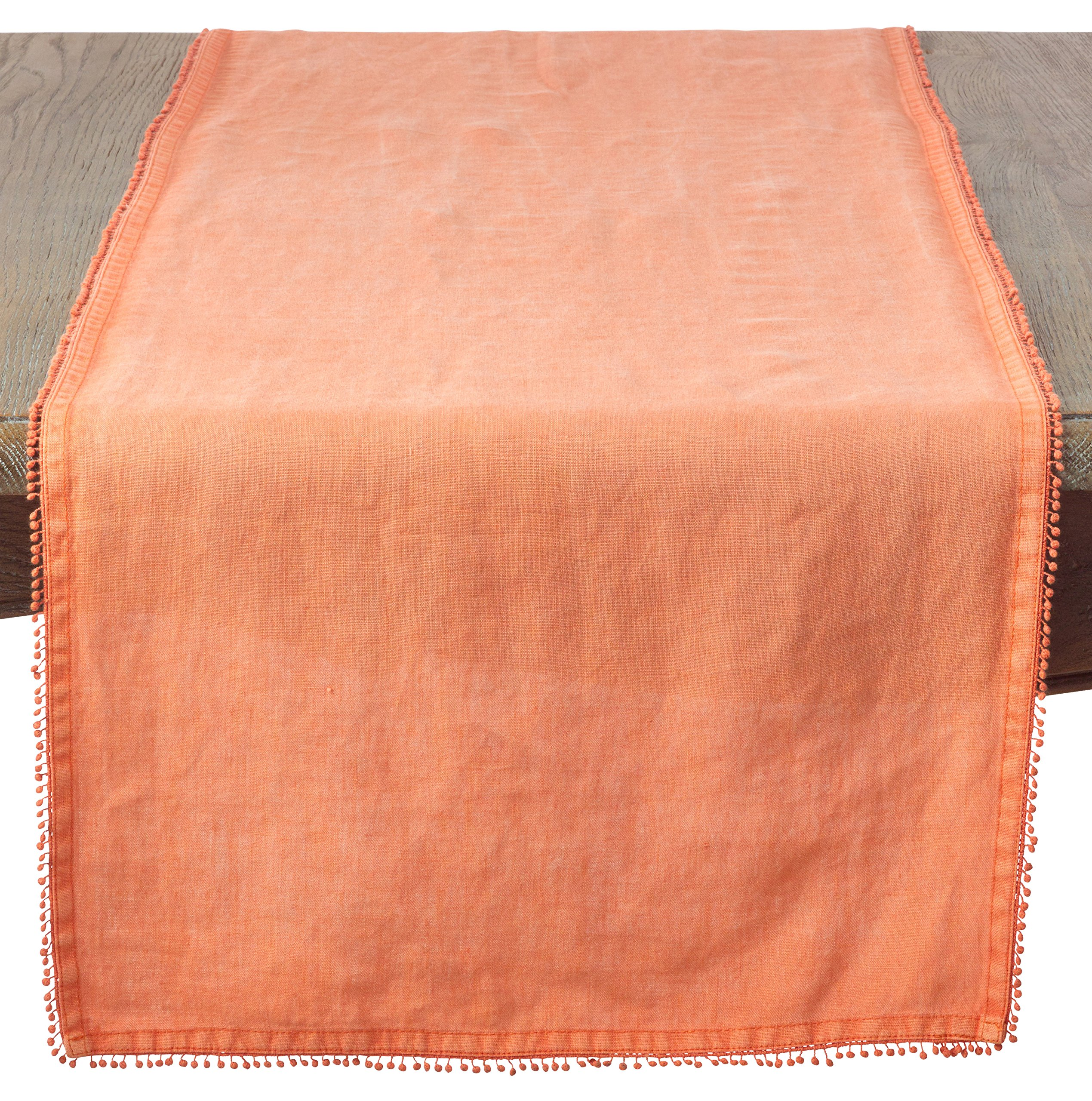 SARO LIFESTYLE Pomponin Collection 100% Linen Table Runner with Pompom Edges, 16'' x 72'', Pumpkin