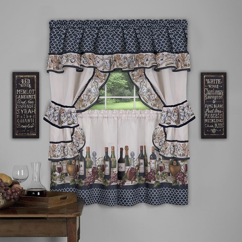Achim Home Furnishings CHCS24NY12 Chateau Window Curtain Cottage Set, 57 inch x 24 inch, Navy, 57 X 24