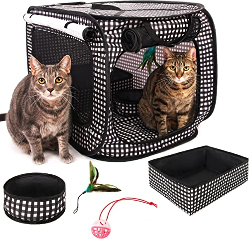 CHEERING PET, Cat Condo Cage Portable Pop Up Pet Crate with Collapsible Litter Box, Foldable Feeding Bowl, Hanging Feather Teaser and Ball, Carrying Bag, Extra Large 32 X 19 X 19
