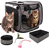 "CheeringPet, Cat Travel Cage: Portable Pop Up Pet Crate with Collapsible Litter Box, Foldable Feeding Bowl, Hanging Feather Teaser and Ball, Carrying Bag, Extra Large 32"" X 19"" X 19"" (Checker Board)"