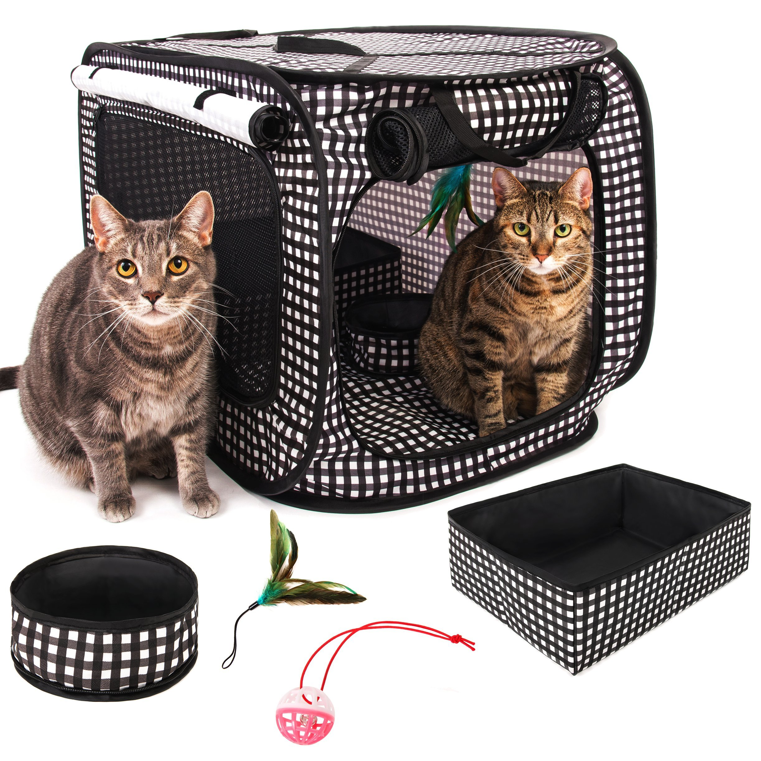 CHEERING PET, Cat Condo Cage: Portable Pop Up Pet Crate with Collapsible Litter Box, Foldable Feeding Bowl, Hanging Feather Teaser and Ball, Carrying Bag, Extra Large 32'' X 19'' X 19'' (Checker Board) by CHEERING PET