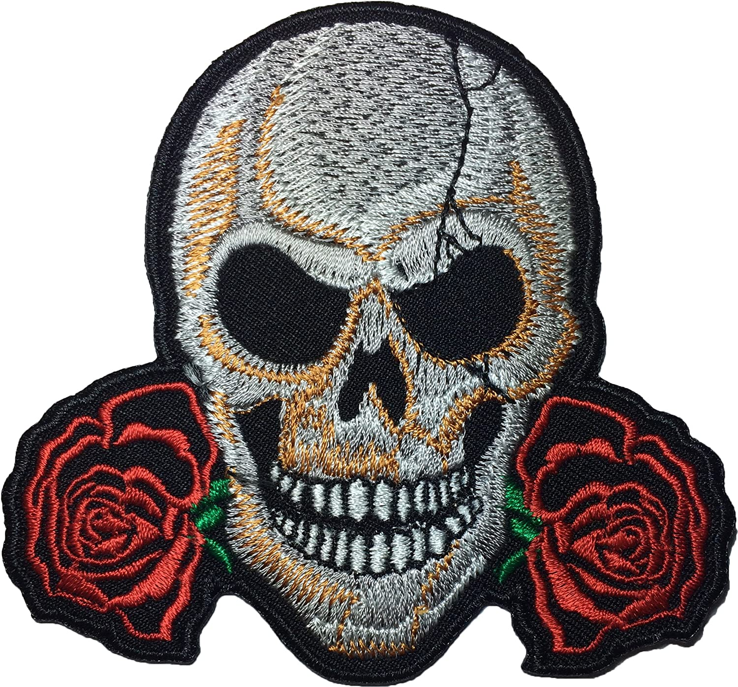 Skull with Twin Rose Ghost Skeleton Bone Dead Head Biker Motorcycle Jacket Vest Sew on Iron on Embroidered Badge Sign Costume Patch Ranger Return