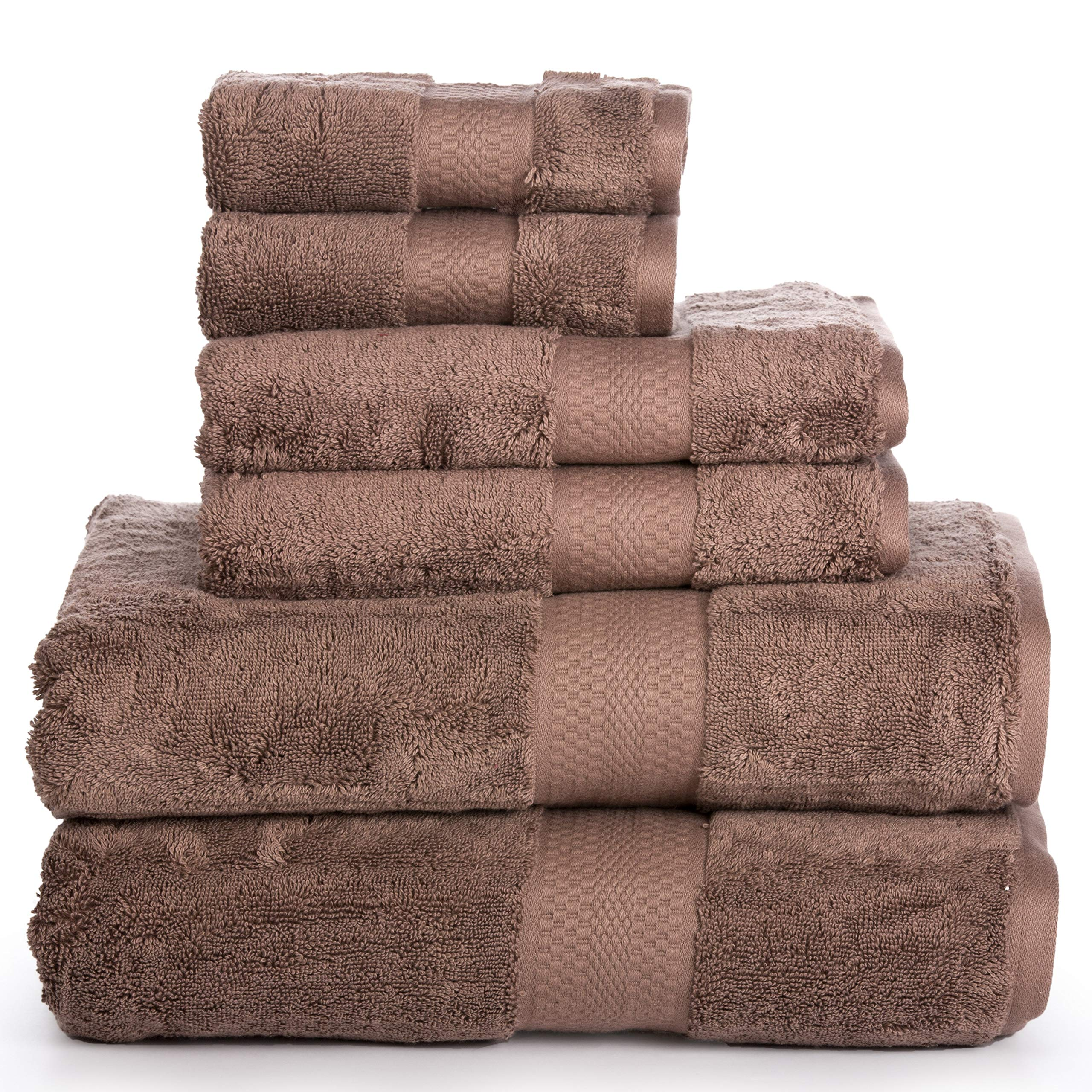 Luxury Cotton Bathroom Bath Towels: 6 Piece Towel Set for Household Bathrooms - Soft Plush and Absorbent Cotton with Double Stitch Hems - Bath / Shower Towels, Hand Towels, and Washcloths - BROWN