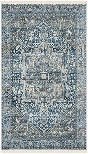 Safavieh Vintage Persian Collection Charcoal and Blue Polyester Area Rug, 3 x 5 ,