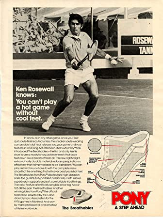 Vintage Pony Tennis Sneaker Ad- Ken Rosewall at Amazons Sports Collectibles Store