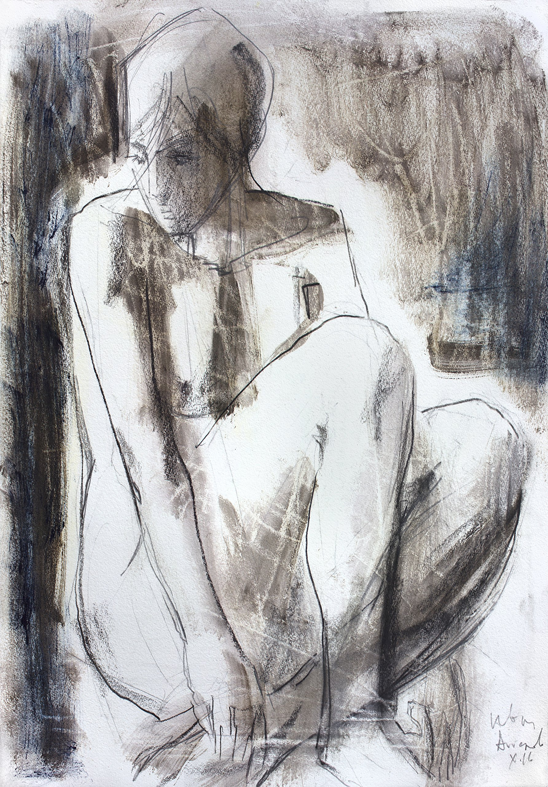 Original charcoal drawing Wall decor Artistic sketch Nude Woman Modern Figurative art by IvMarART