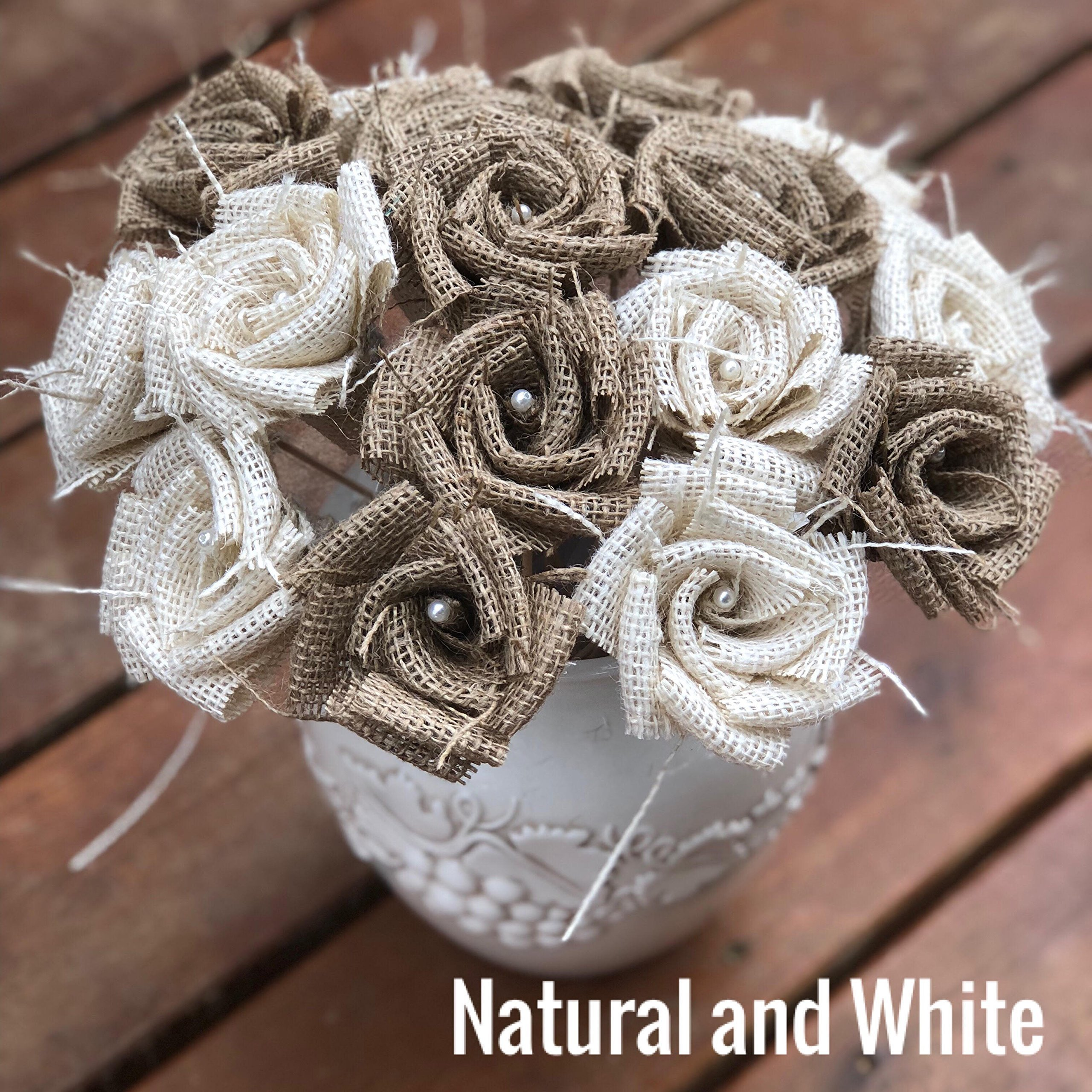 Burlap Flowers with Stem 6 white, 6 natural (12 total) Burlap Rose Flowers with Stem Wedding Decor Flowers Rustic Bouquet with Wooden Stems
